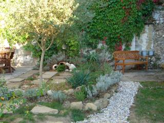 The lovely private garden, quiet and a spot of sun all day long. Lots of herbs and lavender.