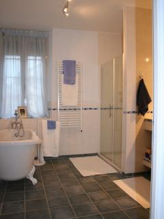 Large bathroom with walk in shower and roll-top tub