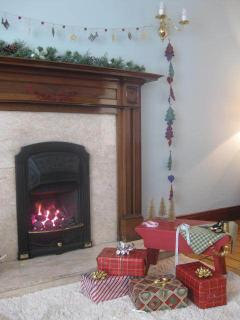 Festive gifts and a cosy fireside