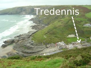 Trebarwith Strand, with Tredennis labelled