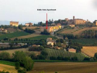 Hill top location on the edge of the Castello delle Forme village. All windows and balconies are fac