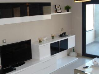 Modern lounge with multi-language TV