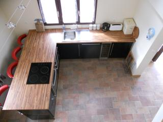 Fully Fitted Kitchen including dishwasher and wine cooler,viewed from mezzinine