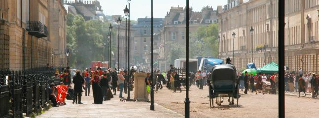 Walk into town via the K&A canal and Great Pultney Street - here being used as a period drama set.