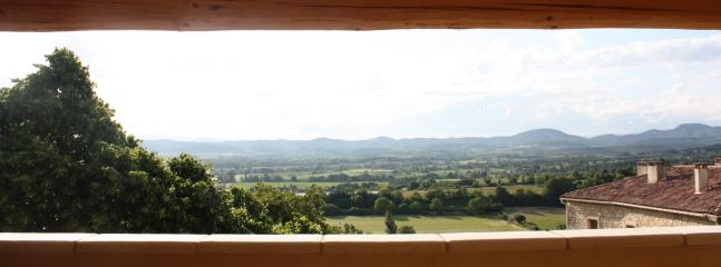 Panoramic views of the Cevennes mountains from the roof terrace