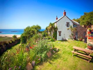 Tresillian , stunning spacious house by the beach with lush garden and sea views