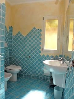 1 of the 2 shower rooms the other is tiled green