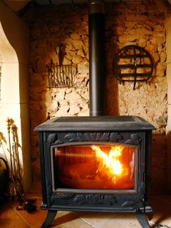 The woodburning stove in the sitting room