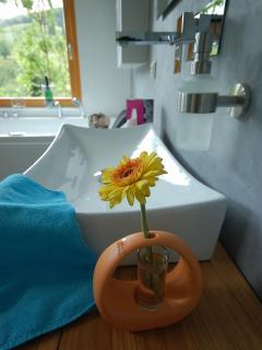 Badezimmer mit Whirlpool und Fußbodenheizung