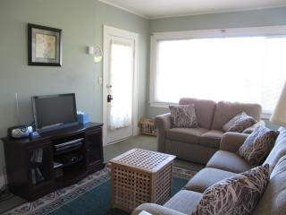 Living room area with HDTV, DVD, radio/cd player and a selection of dvds and cds.