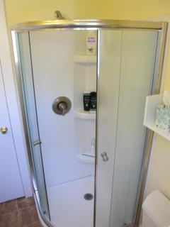 Newly renovated 3/4 bathroom.