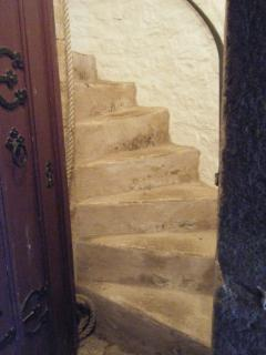 Bring luggage in small suitcases, it will need to go up these stairs!