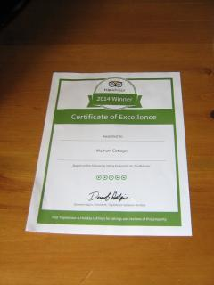 Tripadvisor awarded Masham Cottages a Certificate of Excellence in May 2014.