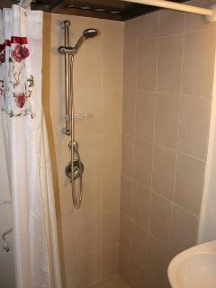 Full size built in shower gushes hot water and won't splash the rest of the bathroom