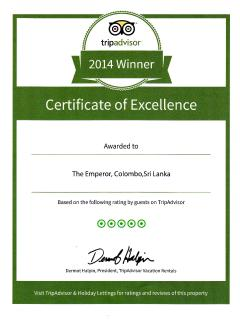 Proud Achievement, TripAdvisor Certificate of Excellence 2014