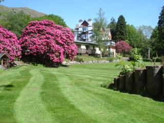 Looking towards The Chalets from the beautiful gardens.