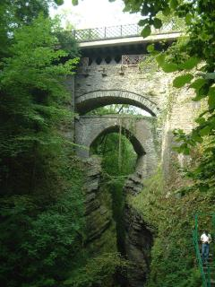 The three bridges built one on top of another at Devils Bridge