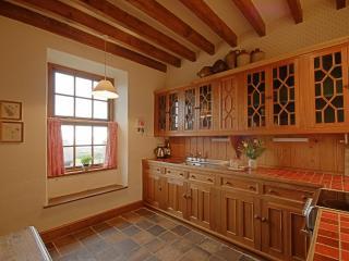 Large farmhouse kitchen with sea views