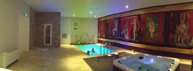 in the spa; Pool for aqua bike, steam room & hot tub