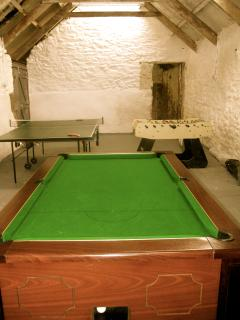 Games room with pool, table football and table tennis