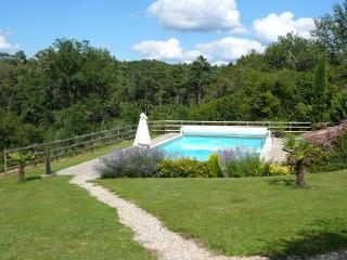 Garden and countryside surrounding pool