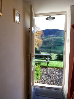 View of Llantysilio Mountain from front door of accommodation