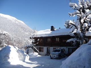 Exterior of chalet in the snow