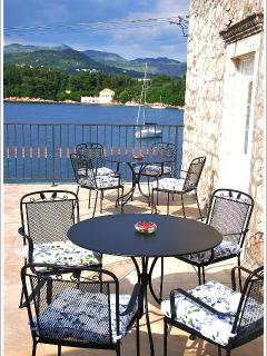 The spacious terrace with the stunning sea view