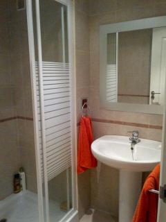Second bathroom with shower toilet and sink