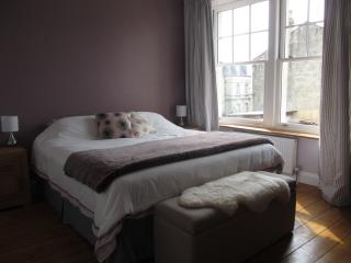 Master bedroom with super kingsize double bed