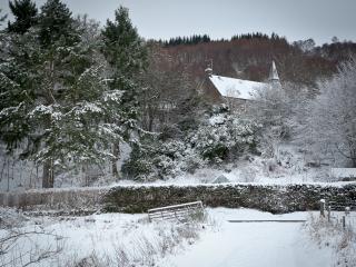 The Old Kirk in winter landscape