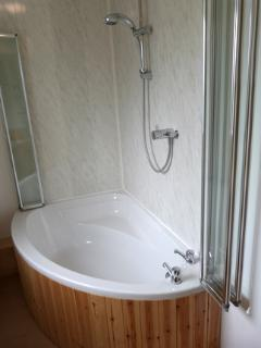 Family bathroom showing full size bath and shower