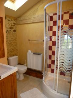 Upstairs ensuite shower room with toilet