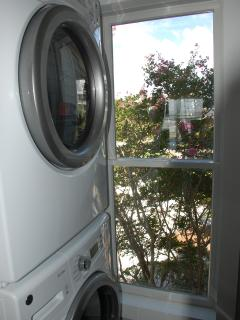 Stacked full size washer and dryer