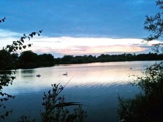 Sunset Walk by One of Lower Mill Estate's Many Lakes