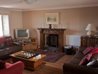 The sittingroom with woodburning stove and lots of sitting space