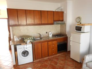 Generously equipped kitchen area has washing machine as well