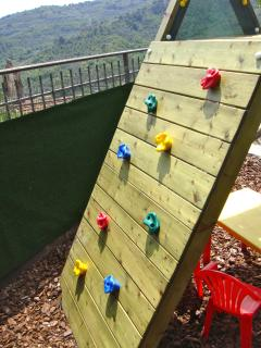 Children's Climbing Wall - this terrace is fully fenced and gated for child safety