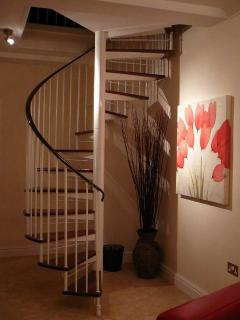 Feature Spiral Staircase in Moonlight Apartment, Durham
