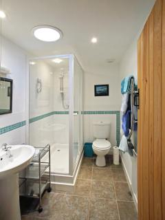 Functional shower room with heated towel rail.