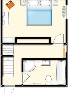 First floor layout - bedroom 1 (double or twin) and bathroom with separate shower