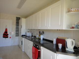 Kitchen with fridge freezer, washing machine and microwave