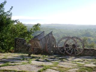 View from the courtyard of miles of national park with off road bicyling, riding and walking