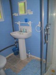 Twin toilet room with shower