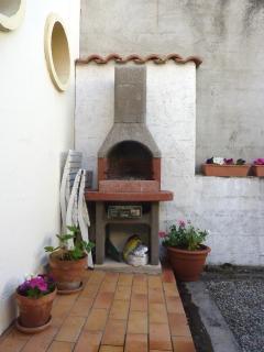Brick-built barbecue