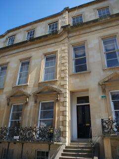 Exterior of this elegant Regency era building - just 100 metres from Montpellier bars, shops etc