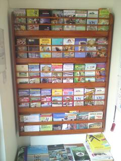 our tourist information rack is replenished so theres plenty to do and places to visit [or just chil
