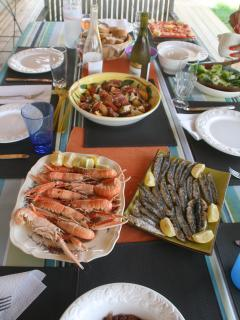 Local Market on Tues/Sat at Aire sur l'Adour includes fresh seafood