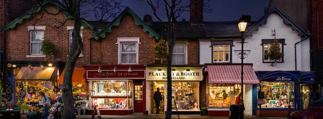 Lytham's Victorian independent boutique shops at Christmas.