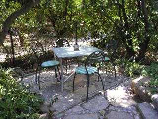 outside dining under orange trees